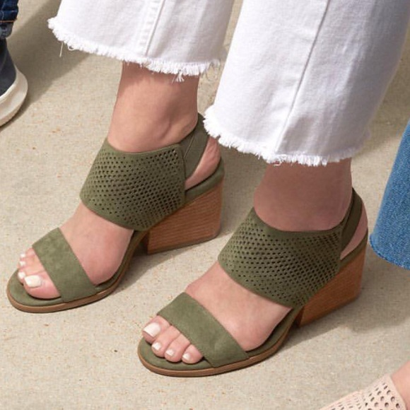 Olive Perforated Block Heel Ultra